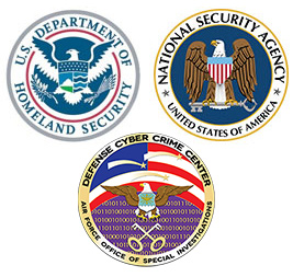 Badges Representing Champlain's DHS, NSA, and DC3 Designations
