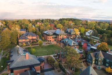 Aerial shot of Champlain College Campus in Burlington, VT