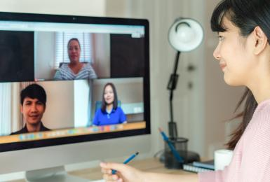 Remote worker video conferencing with coworkers