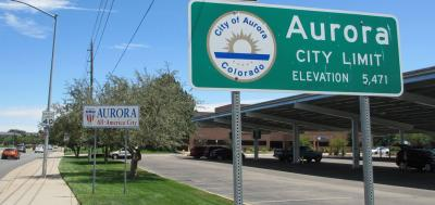 City limits sign for City of Aurora, CO