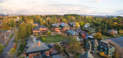 Aerial view of Champlain College's campus in the fall.